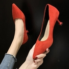 小清新高跟鞋女細跟紅色婚鞋