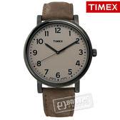 TIMEX 天美時/ TXT2N957 / INDIGLO 美國文青休閒真皮腕錶 淺棕x黑框x棕 42mm
