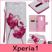 【萌萌噠】SONY Xperia1 (6.5吋)  日韓彩繪系列 可愛花朵蝴蝶保護套 全包防摔 支架插卡側翻皮套