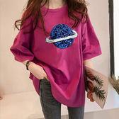 【名模衣櫃】星球印花五分袖T恤-共4色(M-2XL可選)-93076