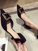 高跟鞋女鞋小清新黑色法式少女高跟鞋春季百搭細跟尖頭網紅單鞋 愛丫愛丫