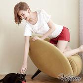 Victoria 中高腰棉麻色染短褲-女-紅色