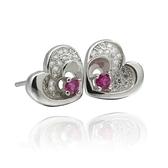 耳環 925純銀鑲鑽-典雅心形生日情人節禮物女飾品2色73dm208[時尚巴黎]