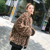 歐洲站時尚女裝豹紋皮草大衣秋冬夾克兔毛絨衣服休閑寬鬆毛毛外套