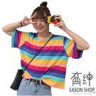 EASON SHOP(GW2307)實拍百搭撞色彩虹橫條紋短版露肚臍薄款圓領短袖T恤女上衣服落肩內搭衫顯瘦棉T恤