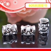 銀鏡DIY S925純銀材料配件/亮面簍空刻花造型銀管Y~適合手作串珠/蠶絲蠟線(非316白鋼)