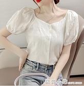 法式一字肩短袖襯衫女設計感小眾2021年夏季薄款洋氣小衫鎖骨上衣 蘇菲小店
