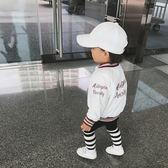 童裝1歲女童春秋棒球服外套後背字母嬰兒寶寶外套衫上衣【無趣工社】