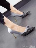 秋季歐美婚宴鞋尖頭水鑽細跟高跟鞋蝴蝶結綢緞面淺口單鞋 深藏blue