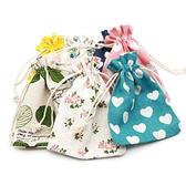 10x14cm小清新束口收納袋禮品袋糖果袋零錢包包抽繩棉麻布袋樹枝 母親節禮物
