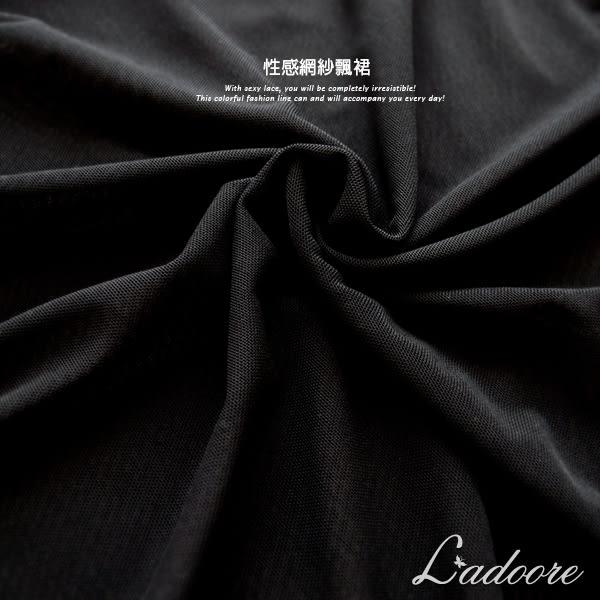 睡裙 Ladoore 墮落天使 柔紗透肌性感睡衣(黑色)
