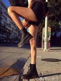 夏季馬丁靴女英倫風學生厚底透氣機車靴子女短靴筒chic內增高薄款 蘿莉小腳丫