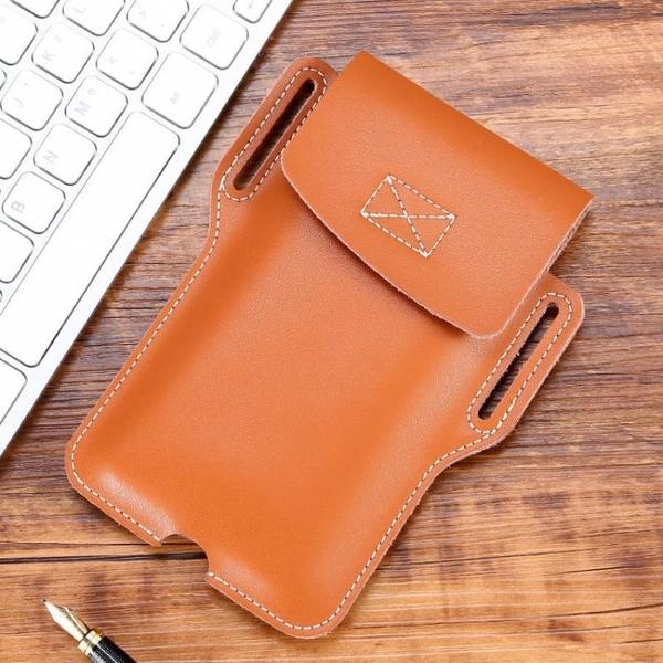 新品特價 真皮手機腰包穿皮帶男士運動手機包工地戶外干活多功能超薄手機包