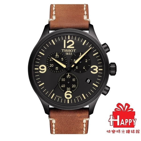 TISSOT  CHRONO XL  天梭 韻馳系列運動計時腕錶 T116.617.36.057.00黑x咖   T1166173605700