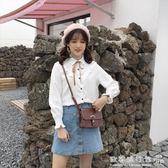 女學生日繫長袖喇叭袖蝴蝶結繫帶襯衫甜美小清  上衣  歐韓流行館