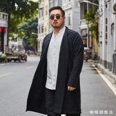 全館88折特惠-大尺碼男裝中國風長版風衣中式胖子寬鬆棉麻開衫外套加肥加大漢服