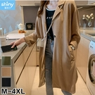【V3267】shiny藍格子-輕活秋閑.百搭修身單釦薄款長版風衣外套