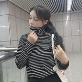 韓版百搭高領黑白條紋長袖t恤女學生寬鬆上衣顯瘦原宿打底衫 米蘭街頭