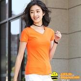 新款夏季純棉V領t恤女半袖白色打底衫修身純色短袖女上衣韓版【happybee】