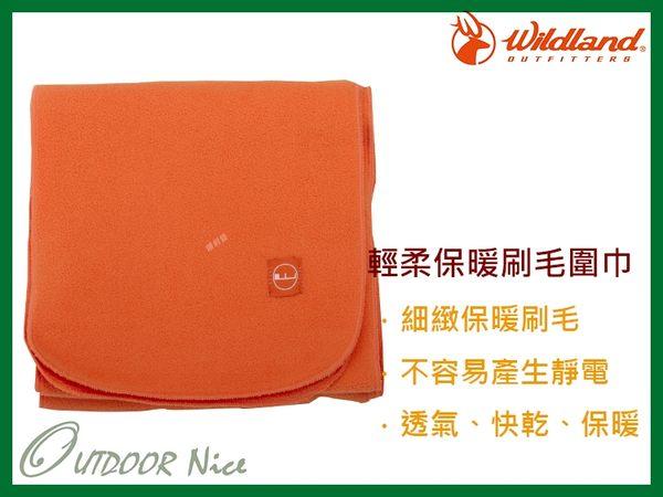 ╭OUTDOOR NICE╮荒野WILDLAND 輕柔PILE保暖圍巾 W2010 橘色 刷毛圍巾 不易產生靜電