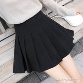 【快出】半身裙胖mm大碼半身裙子女秋冬顯瘦a字裙百褶裙高腰小短裙半裙黑色