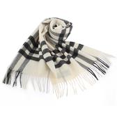 BURBERRY經典格紋喀什米爾羊毛圍巾(淺米色)089510-10