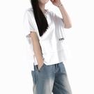 2021夏裝新款寬鬆顯瘦半袖體恤大碼女裝遮肚子上衣連帽短袖t恤 【端午節特惠】