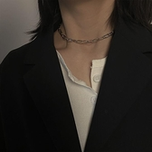 一佳生活館 小眾設計感金屬項鏈女鎖骨鏈歐美 冷淡風粗鏈條短款脖頸鏈項圈