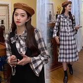 漂亮小媽咪 實拍 韓系 兩件式 針織 背心裙【DS8302】二件式 格紋 長袖 格子 喇叭袖 襯衫洋裝 背心