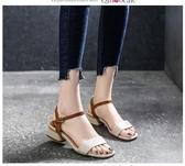 2020新款夏季涼鞋女鞋子潮流歐美英倫風中跟涼鞋粗跟一字扣帶露趾 KV6974 『小美日記』