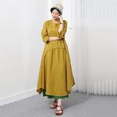 正韓 亞麻弧形拼接不規則擺洋裝 (9041) 預購