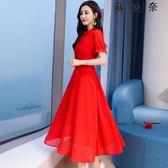 晚禮服 紅色雪紡連身裙 回門服敬酒服
