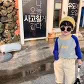 童裝男童長袖T恤2019秋裝新款寶寶插肩袖字母印花百搭上衣