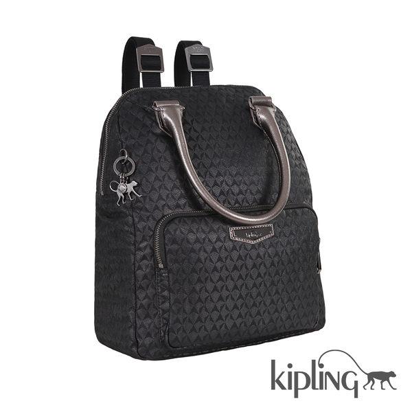 Kipling 奢華黑幾何手提後背包-大