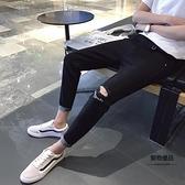 破洞牛仔褲刺繡修身小腳9分褲韓版學生夏季薄款褲子【聚物優品】