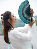 折扇 復古風漢服扇子女式隨身蕾絲折扇中國風夏季便攜小巧流蘇折疊扇竹【快速出貨】