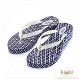 Paidal 迷宮時尚印花楔形夾腳拖鞋涼鞋-白
