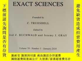 二手書博民逛書店archive罕見for history of exact sciences 2020年1月 英文版Y4240