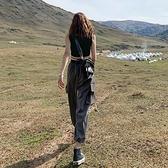 法式工裝褲女寬鬆bf夏季薄款酷帥氣高腰束腳顯瘦ins 直筒運動休閒 【草莓妞妞】
