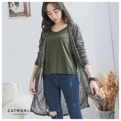 Catworld 側開衩開襟長版針織外套【15003559】‧F*特價