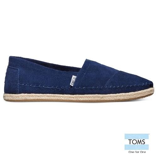 TOMS 麂皮粗縫線懶人鞋-男款(10008383   NAVY)