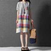 初心 短袖洋裝 【D2519】 格紋 短袖 棉麻洋裝 拼接 格子 洋裝