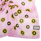 VERSACE 凡賽斯 滿版太陽圖騰 帕巾(粉紅色)989017-8