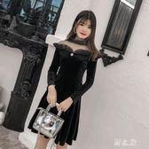大尺碼長袖洋裝 大碼女裝2019新款顯瘦金絲絨禮服裙仙女連身裙 nm17986【野之旅】