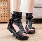手工真皮女鞋35~40 2020新款休閒百搭頭層牛皮涼靴 民族風後拉鍊休閒時裝靴~3色