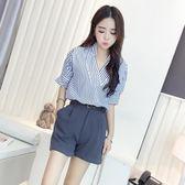 套裝女夏2018新款韓版氣質V領條紋襯衫上衣高腰闊腿褲短褲兩件套
