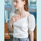 短袖T恤蕾絲拼接棉法式復古V領上衣(二色S-2XL可選)/設計家 AL301889