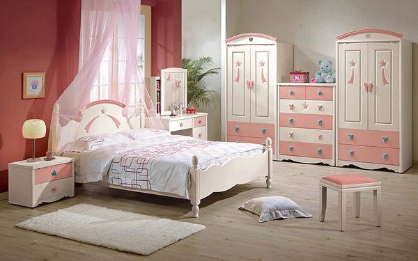 【森可家居】貝妮斯5尺雙人床 7CM127-1 不含床墊 兒童 城堡童話公主風 粉紅