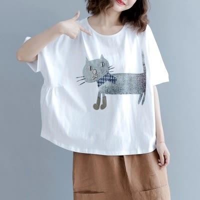 純棉短袖T恤 戴圍巾的貓 文藝 寬鬆 圓領短袖上衣/2色-夢想家-0518
