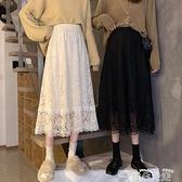 半身長裙秋冬蕾絲半身裙女冬季裙子2021新款外穿中長款A字裙黑色高腰長裙  雲朵 上新